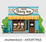 bakery shop. bakery shop in... | Shutterstock .eps vector #645397963