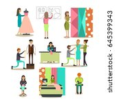 vector icons set of fashion... | Shutterstock .eps vector #645399343