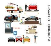vector icons set of car shop ... | Shutterstock .eps vector #645399349