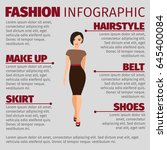 fashion infographic with girl... | Shutterstock .eps vector #645400084