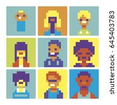 people characters icons set... | Shutterstock .eps vector #645403783