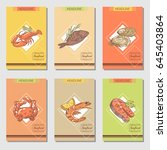 hand drawn seafood cards design ... | Shutterstock .eps vector #645403864
