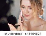 face make up. closeup of sexy... | Shutterstock . vector #645404824