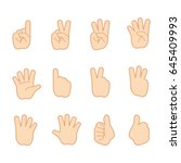hand gestures and sign number...   Shutterstock .eps vector #645409993