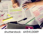 student writing the lecture on... | Shutterstock . vector #645413089