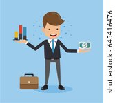 businessman in suit show graphs ... | Shutterstock .eps vector #645416476