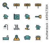 vector flat real estate icons... | Shutterstock .eps vector #645417304