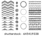 set of hand drawn seamless... | Shutterstock .eps vector #645419338
