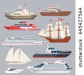set of different vessels. sea... | Shutterstock .eps vector #645427564