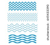 set wave icons  water waves on... | Shutterstock .eps vector #645433390