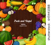 vector vegetables and fruits...   Shutterstock .eps vector #645441088