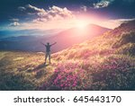 men welcome sunrise with raised ... | Shutterstock . vector #645443170