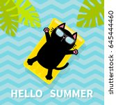 hello summer. black cat... | Shutterstock .eps vector #645444460