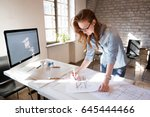 female designer in office... | Shutterstock . vector #645444466
