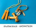 fitness concept   yoga mat ... | Shutterstock . vector #645447634