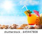 summer concept  fresh exotic... | Shutterstock . vector #645447808