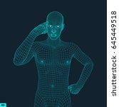 man in a thinker pose. 3d model ... | Shutterstock .eps vector #645449518