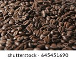 coffee cup on roasted coffee... | Shutterstock . vector #645451690