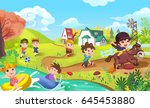 children are doing sports like... | Shutterstock . vector #645453880