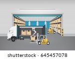 worker working with forklift... | Shutterstock .eps vector #645457078