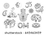 set of hand drawn ethnic... | Shutterstock .eps vector #645463459