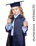 Small photo of Portrait of a cute nine year old girl in an academic gown and hat holding beakers. Educational concept. Isolated over white.
