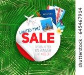 summer banner with white round... | Shutterstock .eps vector #645467914