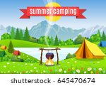 black camping pot over a... | Shutterstock . vector #645470674