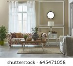 wide living room flower pattern ... | Shutterstock . vector #645471058