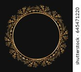 round gold lace border frame... | Shutterstock .eps vector #645471220