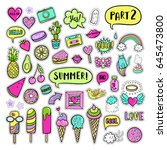 vector hand drawn summer... | Shutterstock .eps vector #645473800