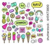 vector hand drawn summer... | Shutterstock .eps vector #645473800
