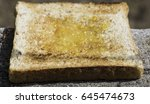 insects on breakfast toast and... | Shutterstock . vector #645474673