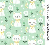 seamless pattern with cute cats.... | Shutterstock .eps vector #645474766