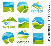landscape logotypes set with... | Shutterstock .eps vector #645477820