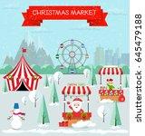invitation card merry christmas ... | Shutterstock .eps vector #645479188