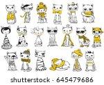 vector illustration of cat set. ... | Shutterstock .eps vector #645479686