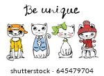 Stock vector vector illustration of cats with hand drawn text be unique perfect for greeting card design t 645479704