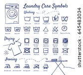 doodle set of laundry care...   Shutterstock .eps vector #645483034