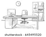 office in a sketch style. hand... | Shutterstock .eps vector #645495520
