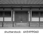 Stock photo facade of an ancient shinto shrine in kyoto japan shinto shrine is most important building is 645499060