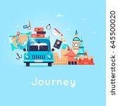 travel by car. world travel.... | Shutterstock .eps vector #645500020
