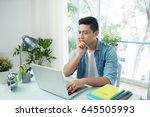 portrait of handsome asian... | Shutterstock . vector #645505993