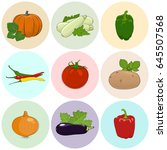 Round Colored Icons Vegetables...