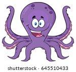 happy purple octopus cartoon...   Shutterstock .eps vector #645510433
