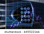 financial data on a monitor as... | Shutterstock . vector #645522166