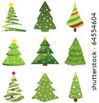 christmas tree collection.... | Shutterstock .eps vector #64554604