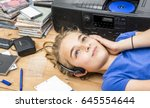 nineties header  girl listening ... | Shutterstock . vector #645554644