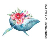 whale and flowers artwork.... | Shutterstock . vector #645561190