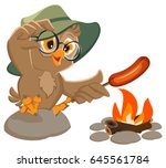 picnic owl scout frying sausage ... | Shutterstock .eps vector #645561784